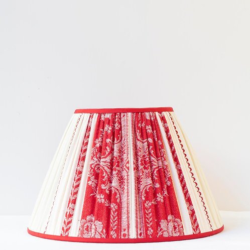 """Single 12"""" (30cm) base shade lampshade with red cream antique linen"""