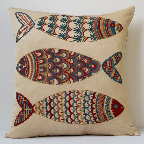"""Approx. 50cm/ 20"""" square cushion - silk hand embroidered fish motifs 25"""