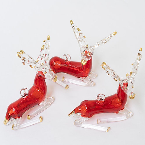 Set of 3 red/ gold reindeer Christmas baubles