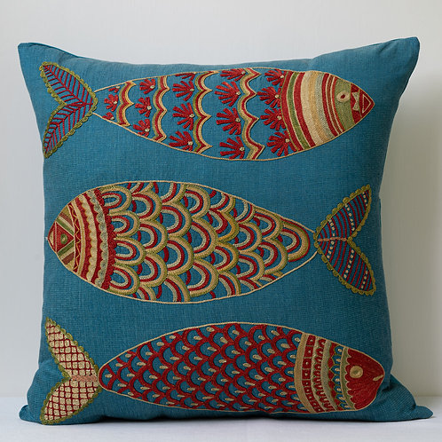 "(R) Approx. 50cm/ 20"" square cushion - silk hand embroidered fish motifs"