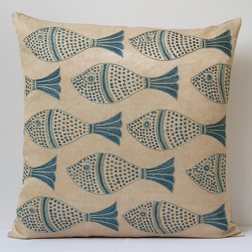"""(Z) Approx. 50cm/ 20"""" square cushion - silk hand embroidered fish motifs"""