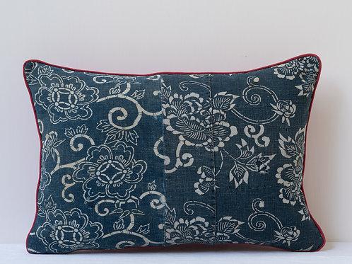 Rectangular red indigo antique textile cushion 2