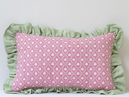 Rectangular cushion in Rose Pink Grenadine and Apple Green Imani frill