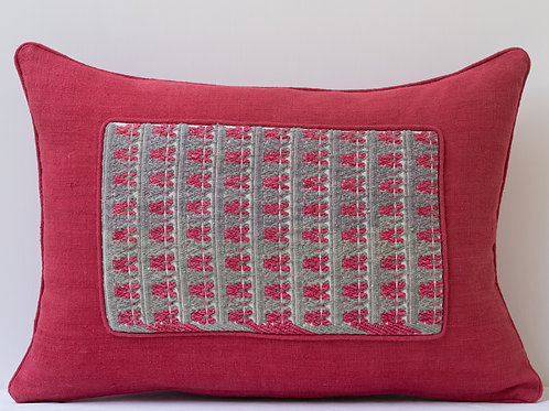 Rectangular red antique textile cushion with Anatolian hand embroidered panel