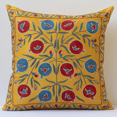 "Approx. 50cm/ 20"" saffron square cushion - silk hand embroidered Ottoman motifs"