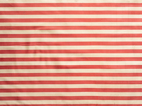 Wide red cream stripe ikat