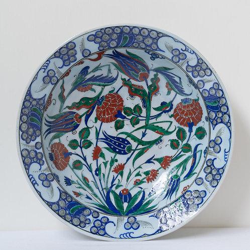 Large convex quartz ceramic plate with Iznik style  motifs (E)