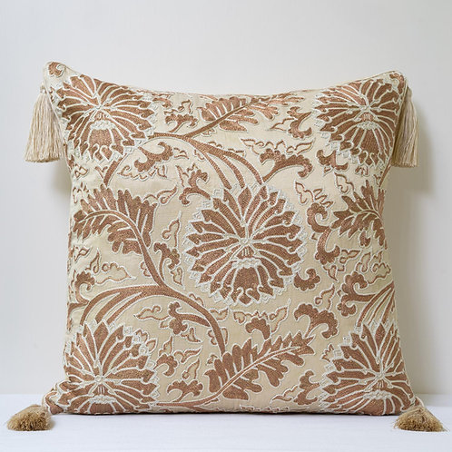 Square silk embroidered cushion