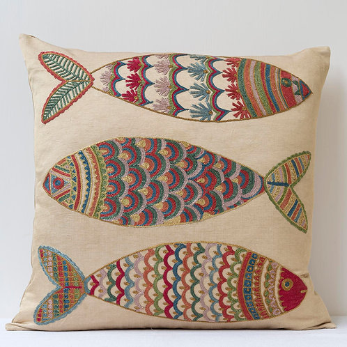 """(F30) Approx. 50cm/ 20"""" square cushion - silk hand embroidered fish m"""