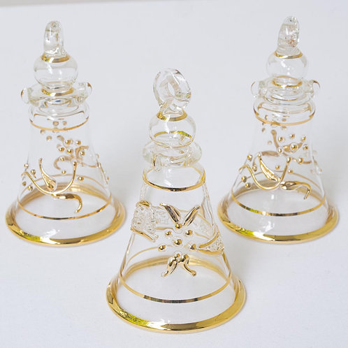 Set of 3 clear/gold bell Christmas baubles