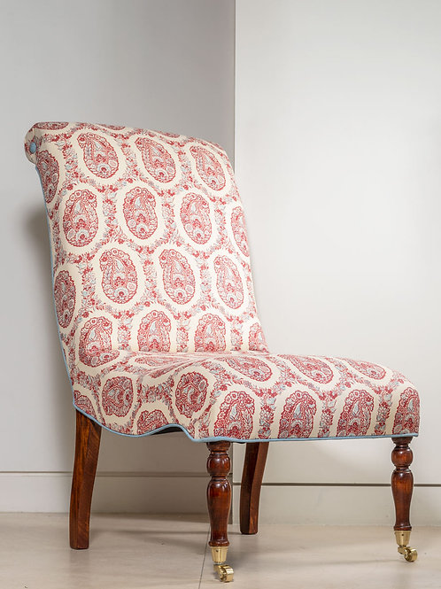 Slipper chair in Susan's red/blue Padishah fabric