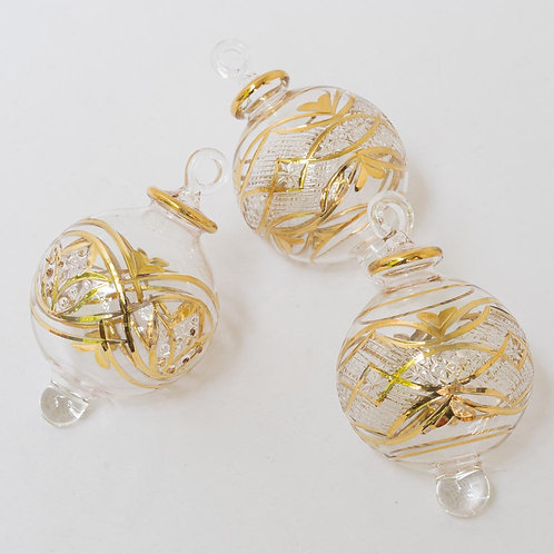 Mixed set 3 gold star Christmas baubles