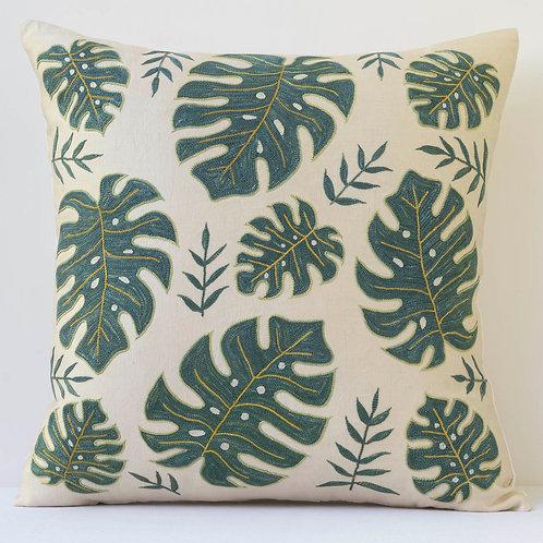 "J21 Approx. 50cm/ 20"" square cushion - silk hand embroidered leaf motifs"