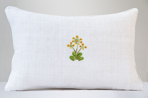 Large floral antique hemp cushion with wool hand embroidered flower