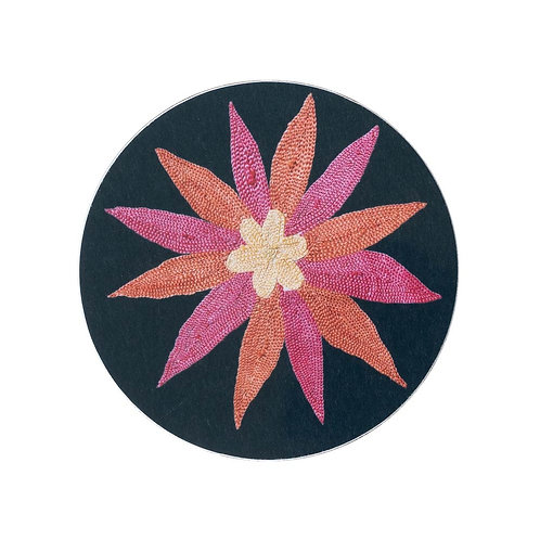 6 Daisy and garland coasters in midnight blue (price is for the set)