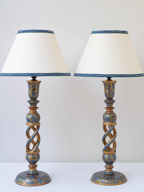 Pair hand painted wooden lamps (1A/B)