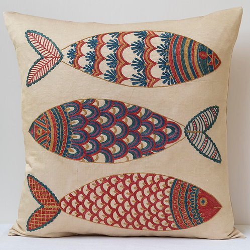 """(A17) Approx. 50cm/ 20"""" square cushion - silk hand embroidered fish m"""