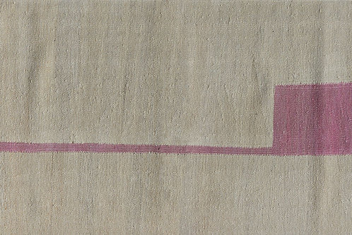 Flatwoven rectangular kilim with pink geometric motif