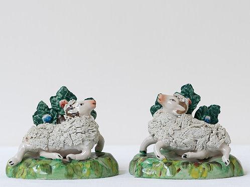 Pair decorative hand painted 19th century sheep vases