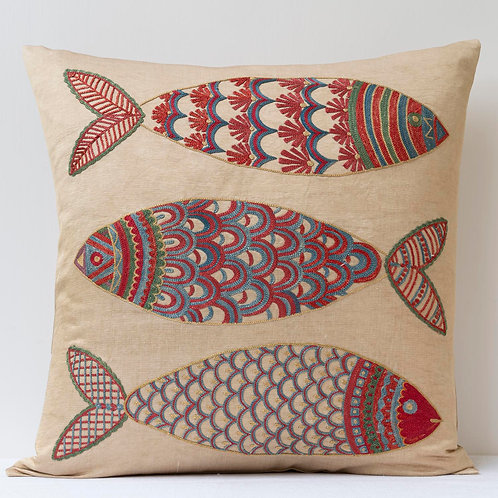 """(F22) Approx. 50cm/ 20"""" square cushion - silk hand embroidered fish"""