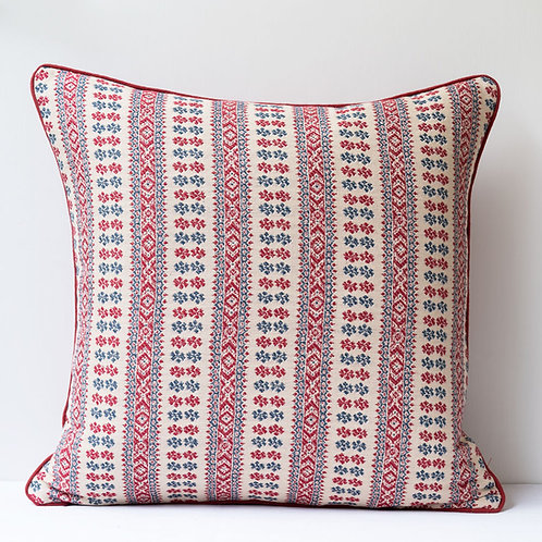 "50cm / 20"" cushion in Susan's Red/Indigo Patmos fabric with antique hemp or line"