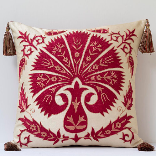 "20""/ 50cm square silk hand embroidered cushion with tassels"