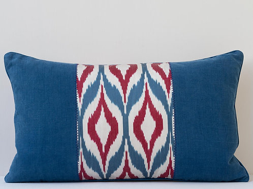 Rectangular silk velvet/ikat/antique French linen cushion