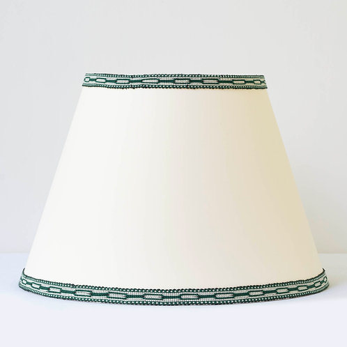 """C3 14"""" / 36 cm base cream card shade with hand woven green ivory tr"""