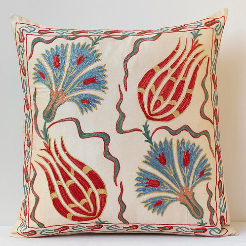 "Pair approx. 50cm/ 20"" square cushion - silk hand embroidered"