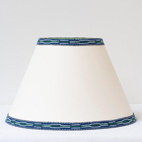 "12"" (30cm) base cream card shade with hand woven blue green trim"
