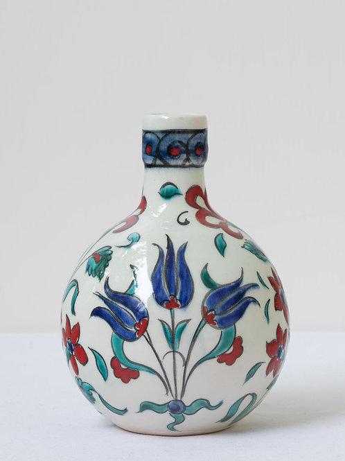 Highly decorative Iznik inspired ceramic vase with tulips