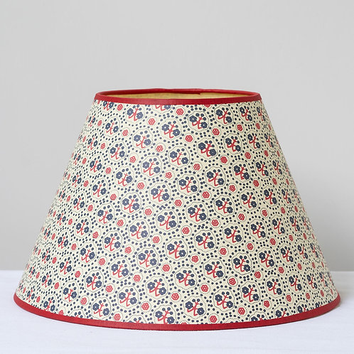 "12"" (30cm) base blue red cream card shade with red trim"