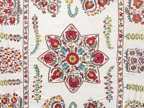 Silk hand embroidered floral Nurata suzani