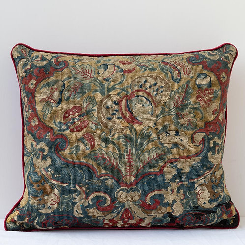 Large cushion with 17th century French Baroque tapestry/ antique French velvet