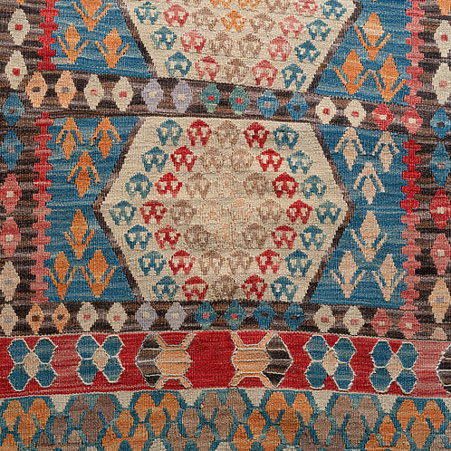 Newly hand woven densely patterned geometric Anatolian wool kilim