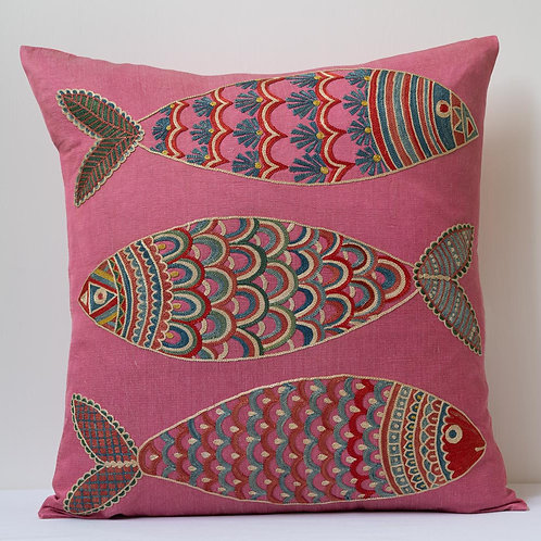 """(G) Approx. 50cm/ 20"""" pink square cushion - silk hand embroidered fish m"""