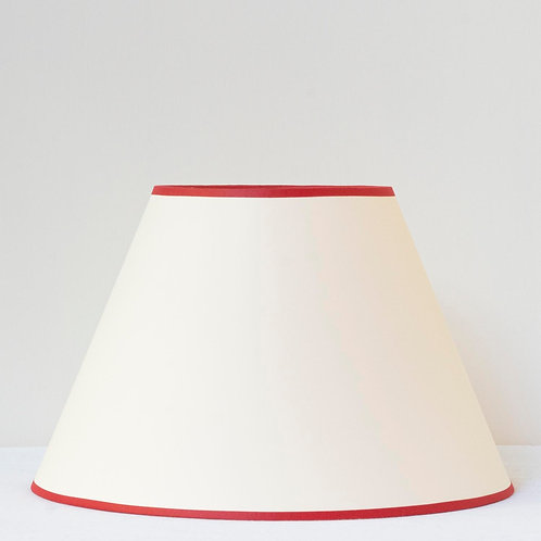 "12"" (30cm) base cream card shade with postbox red trim"