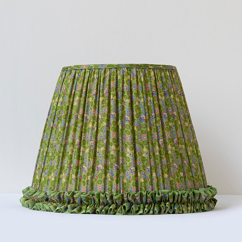 """11"""" (28cm) base with frill in archive print green floral silk"""