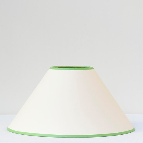 "12""/31cm base cream coolie card shade with apple green trim"