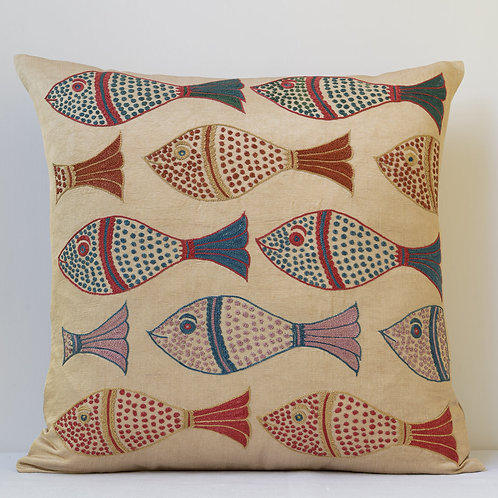 "Approx. 50cm/ 20"" square cushion - silk hand embroidered fish motifs 7"