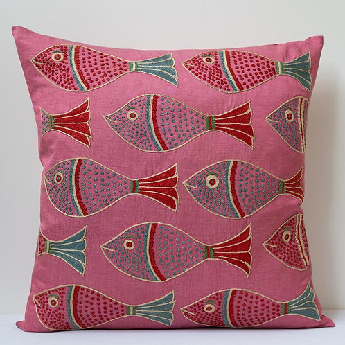 """(D) Approx. 50cm/ 20"""" pink square cushion - silk hand embroidered fish motifs"""