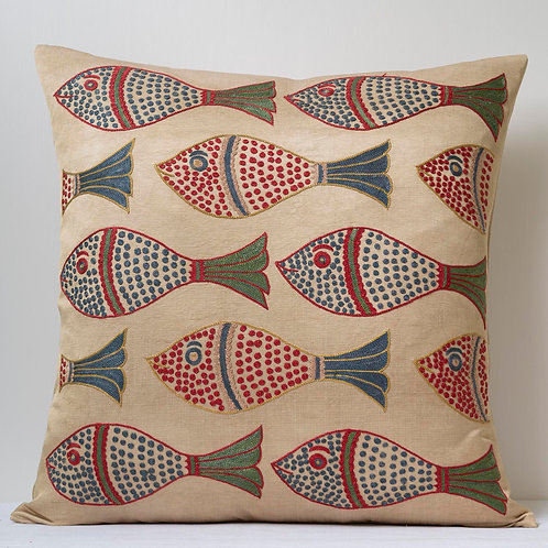 "Approx. 50cm/ 20"" square cushion - silk hand embroidered fish motifs 16"