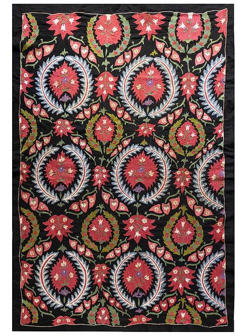 Striking silk hand embroidered black cotton suzani
