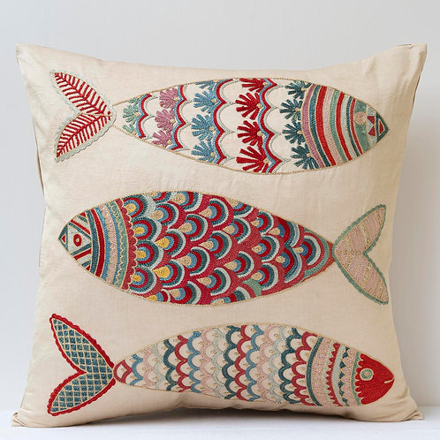 """(F28) Approx. 50cm/ 20"""" square cushion - silk hand embroidered fish"""