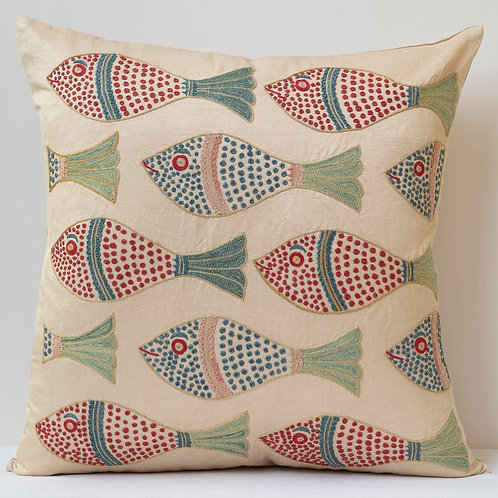 """(A16) Approx. 50cm/ 20"""" square cushion - silk hand embroidered fish m"""