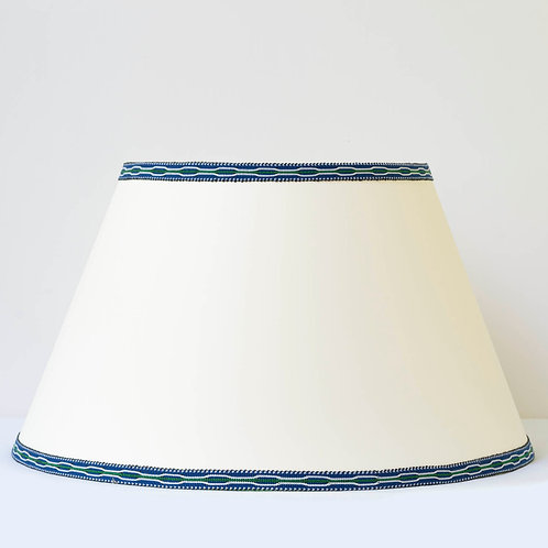 "C10 18"" / 46 cm base cream card shade with hand woven blue green trim"