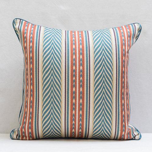 """20"""" / 50cm square Blue copper cream Aztec fabric cushion"""
