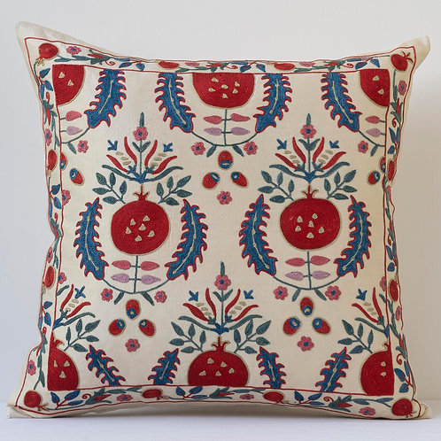 """Approx. 50cm/ 20"""" square cushion - silk hand embroidered pomegranate motifs"""