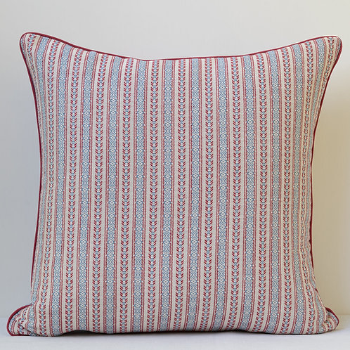 "20""/50cm cushion in Susan's ""Red/Blue"" ticking fabric"