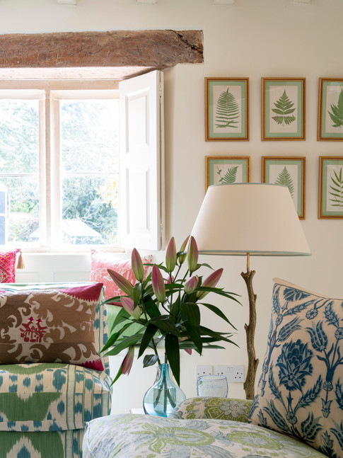 Close-up of English country drawing room